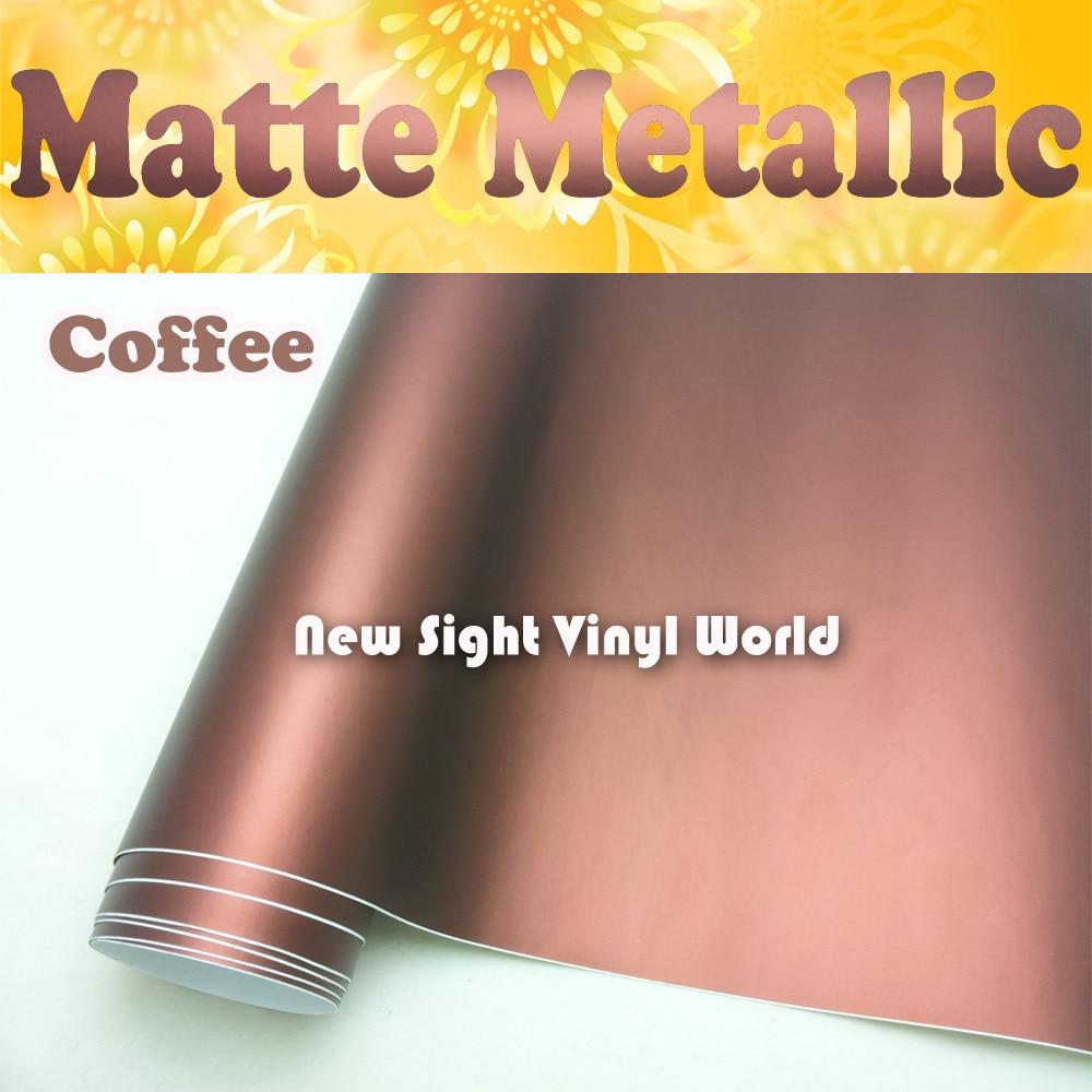 Film vinyle mat métal brun café   De haute qualité, rouleau de pellicule brune en métal mat, Air Free habillage de véhicule