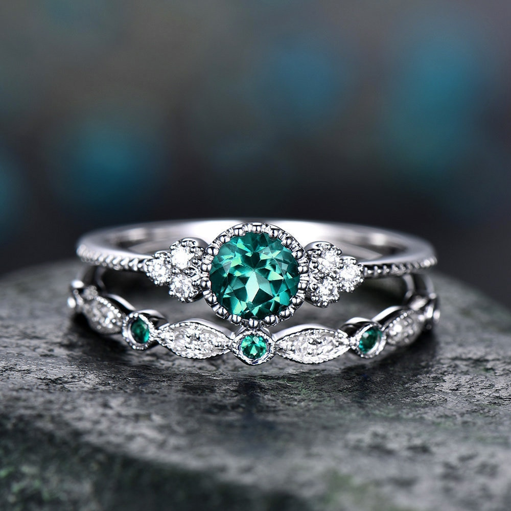 2018 de lujo verde azul piedra anillos de cristal para mujer Color...