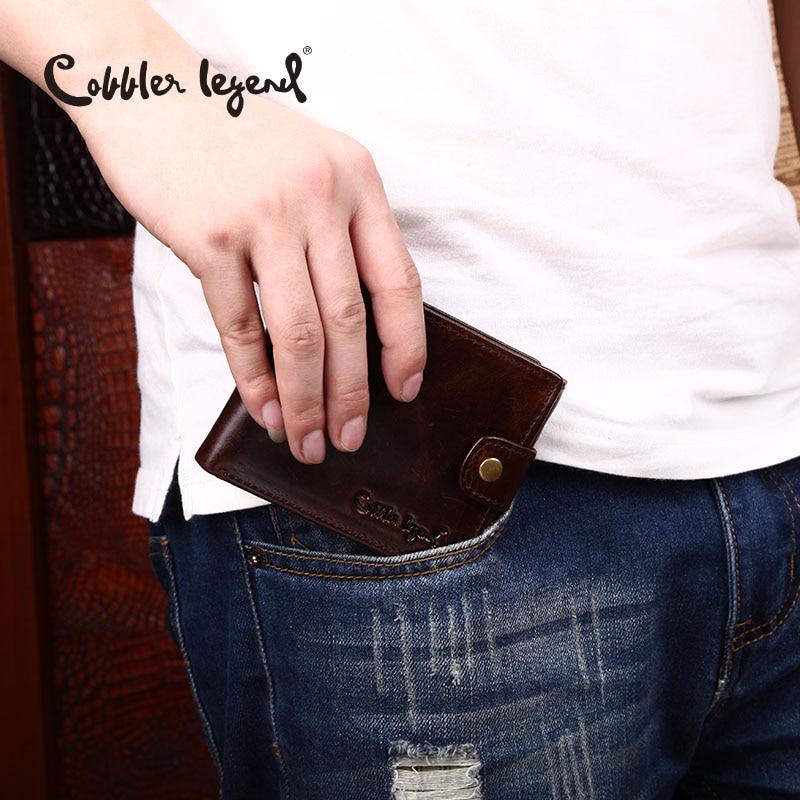 Купить с кэшбэком Cobbler Legend Black Cow Genuine Leather Men Wallets Short 100% Top Quality Fashion High Quality Coin Purse 2019 Original Brand