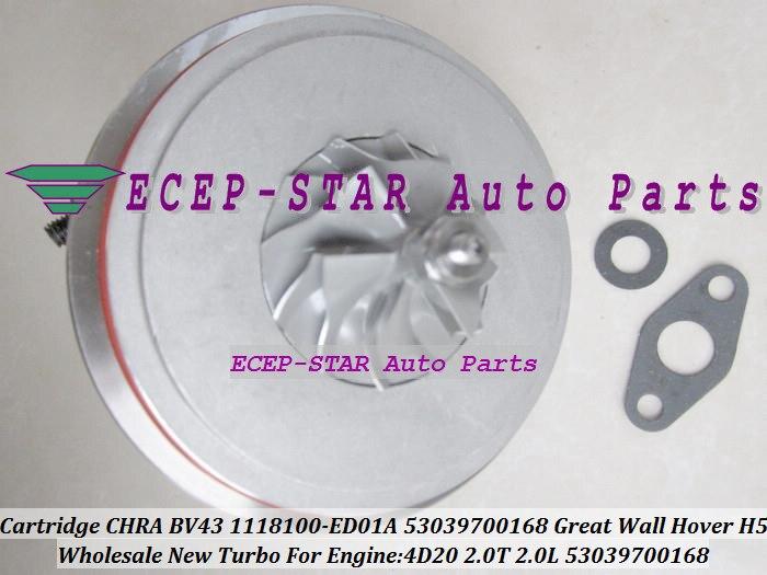 Cartucho Turbo CHRA BV43 53039700168-5303-970-0168 1118100-ED01A 1118100 ED01A de turbina para la gran pared Hover H5 2,0 T 4D20 2.0L