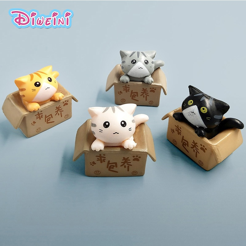 Мини-модель Kawaii с котом внутри, Мультяшные игрушки, фигурка для домашнего декора, миниатюрный пейзаж из мха, украшение из ПВХ