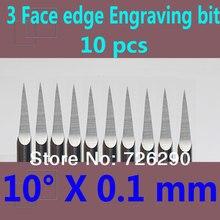 HUHAO 10 pièces 3.175mm Dia 10 Angle 0.1mm pointe 3 bord carbure outils de travail du bois peu de gravure pour CNC routeur Machine