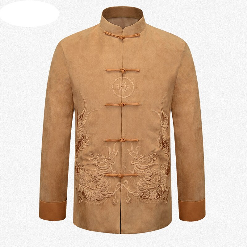 Marca amarilla china tradicional hombres bordado dragón Kung Fu chaquetas abrigos prendas de abrigo M L XL XXL 3XL MTJ201507