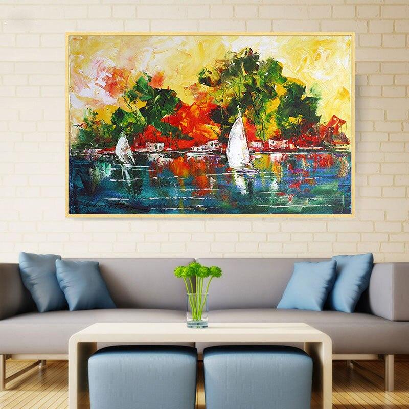 Pinturas al óleo abstractas modernas para pared, imágenes artísticas para decoración del...