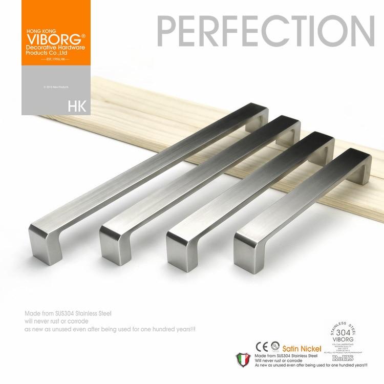 (3 pieces)128mm VIBORG Deluxe Solid Sus304 Stainless Steel Casting Modern Kitchen Cabinet Cupboard Door Drawer Handles Pulls