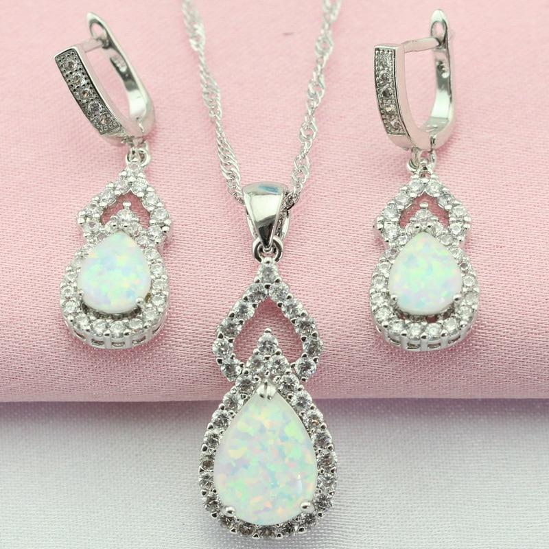 Klassische Weiß Schaffen Australien Opal Weiß Stein Silber Farbe Schmuck Sets Ohrringe Anhänger Halskette Für Frauen Freies Geschenk Box