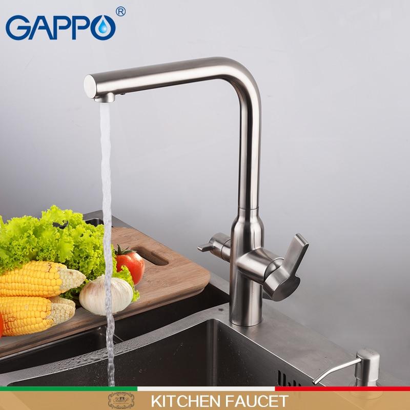 GAPPO المطبخ صنبور مياه الفولاذ غير القابل للصدأ بالوعة رافعة خلاط صنبور المطبخ صنبور تصفية الماء بالوعة المطبخ صنبور