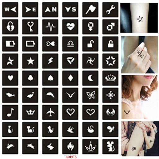 60pcs/set Small Pattern Henna Schablone Reusable Glitter Tattoo Stencil Kids Girls Drawing Template  Airbrush Stencil Henna