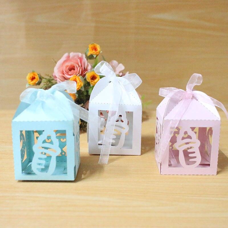 AVEBIEN 24 Uds láser lindo bebé ducha caja de dulces fiesta suministros de decoración Oso de bautismo favores regalo dulce cumpleaños bolsa
