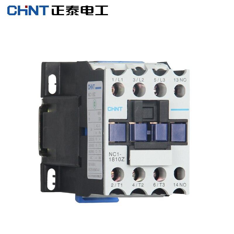 CHINT NC1-1810Z 1801Z Rail Mount Contator Contator Elétrico Industrial DC 24 V DC36V DC48V DC110V DC220V NC1-1810 1801 LC1