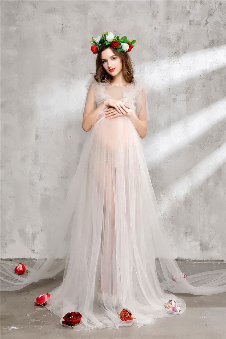 Top Quality Pregnant Maternity Women Fashion Photography Props Romantic long Fairy Trailing Dress Photo shoot free shipping enlarge