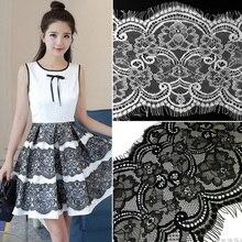 Taille de 3 M/lot 16.5cm de large   Bordure de tissu à dentelle noire blanche pour décoration de mariage, appliques de couture pour cils, ruban de dentelle