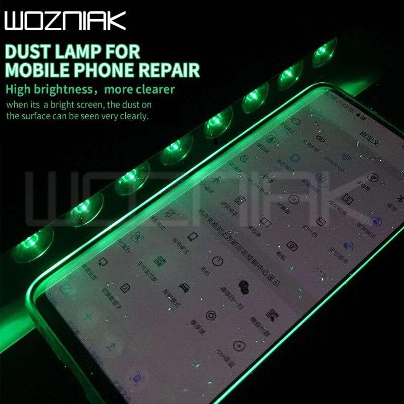 Lámpara iSee para polvo, herramienta profesional para reparación de pantallas, huellas dactilares, grasa para arañazos, búsqueda de luz, cambio de pantalla