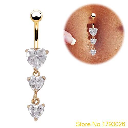 Anillos de ombligo de Oro a la moda para cuerpo, 3 anillos de ombligo con colgante cristalino de corazón 4TD7