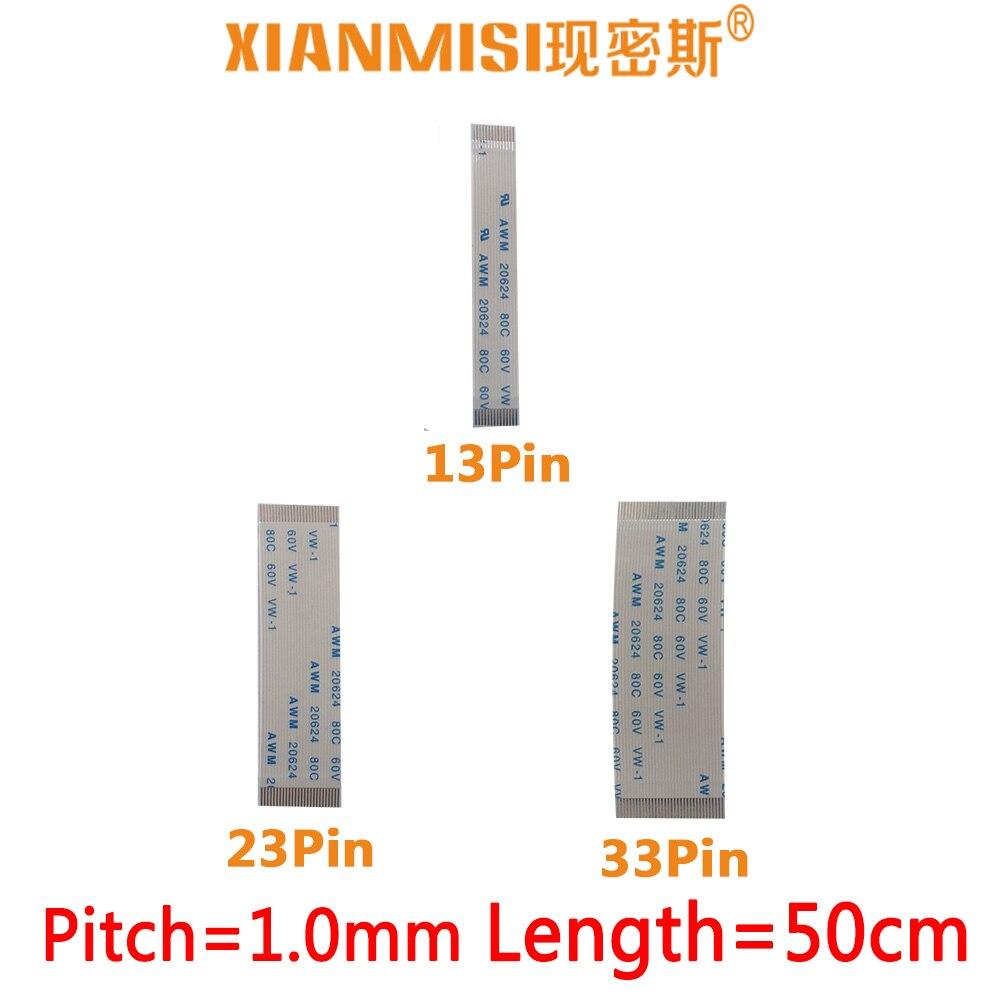 FFC/FPC plana cable de extensión flexible 13Pin 23Pin 33Pin mismo lado 1,0mm AWM VW-1 20624 20798 60V Longitud 50cm 5 uds