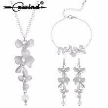 Cxwind 3pcs Orchid Flower Bridal Wedding Jewelry Set New Arrival Luxury Lotus Necklace Earrings Bracelet Party joyas bijoux