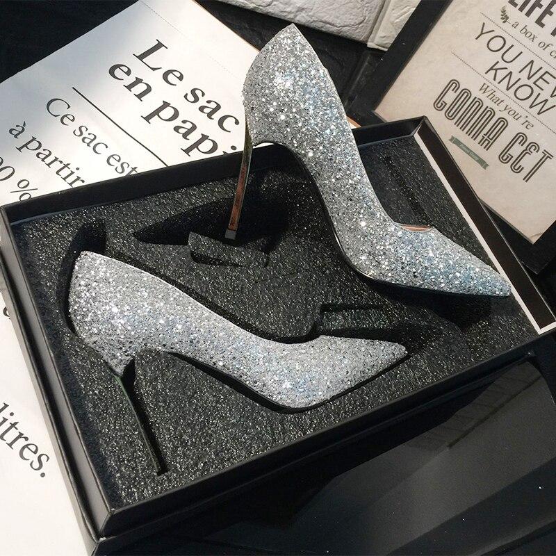 Zapatos plateados de tacón alto brillante, zapatos de boda rojos de 9cm, zapatos de vestir para mujer de Francia, zapatos de tacón de Metal de diseño lujoso