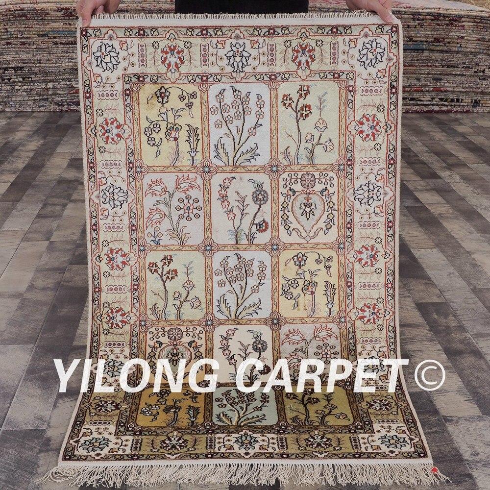 ييلونج-سجادة فارسية من الحرير ، 2.5 × 4 بوصات ، تصميم جديد لجميع الفصول ، صناعة يدوية رائعة للحديقة (YHW348B2.5x4)