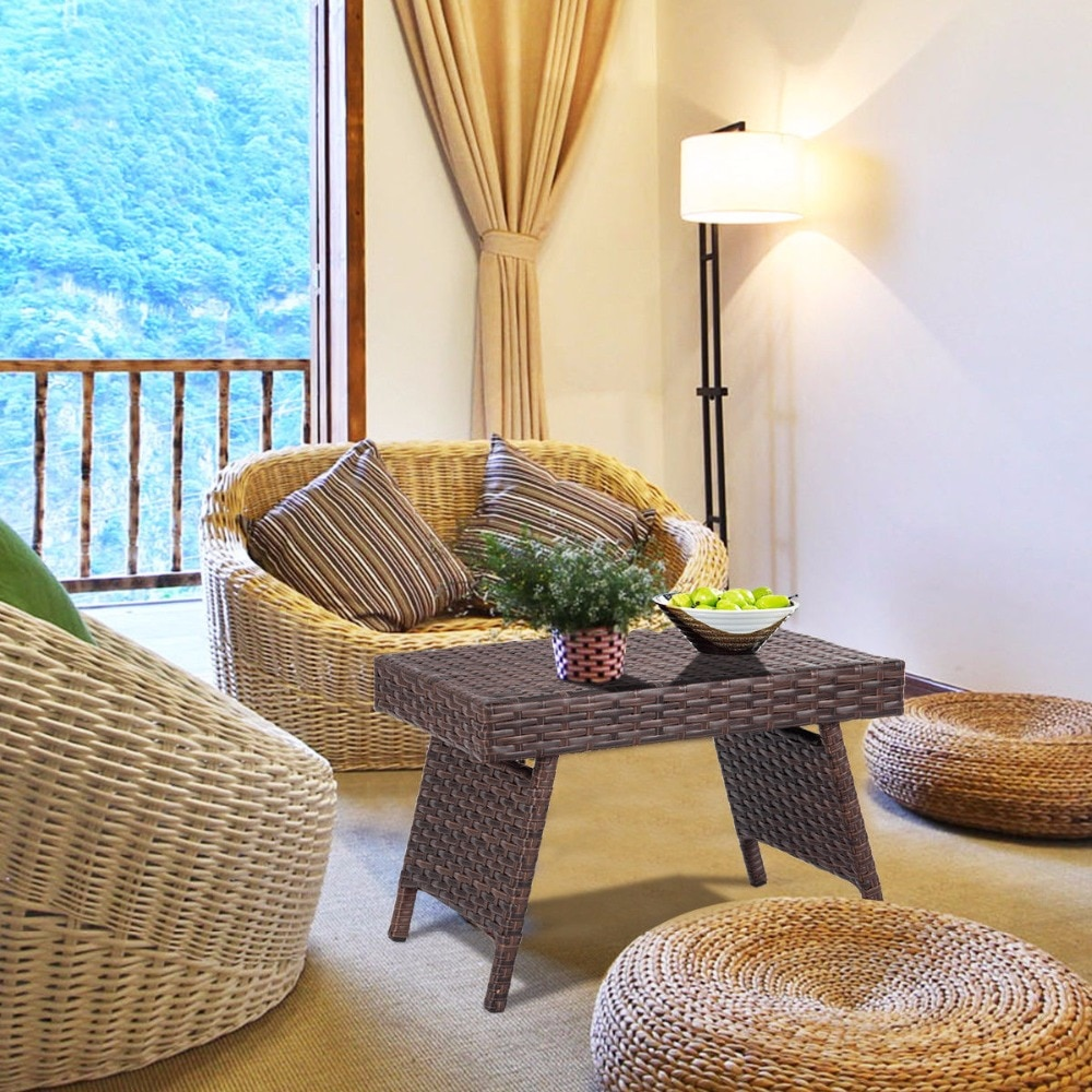 Giantex-طاولة قهوة جانبية قابلة للطي من الخيزران ، فناء ، حديقة ، أثاث منزلي ، بني ، جديد ، HW63889
