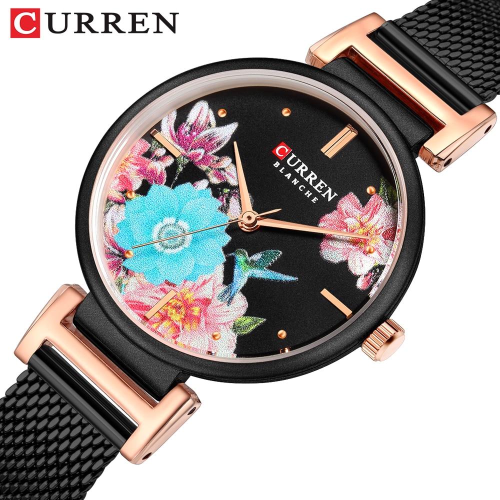 Reloj CURREN para mujer, pulsera negra, marca de lujo, reloj de pulsera de acero inoxidable, reloj de pulsera de cuarzo informal para mujer