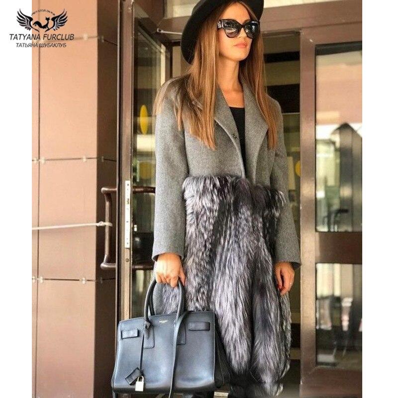 Tatyana-معطف شتوي طويل من فرو الثعلب الفضي الطبيعي للنساء ، مع تنورة ، معاطف صوفية ، نحيفة ، ملابس خارجية ، مجموعة جديدة