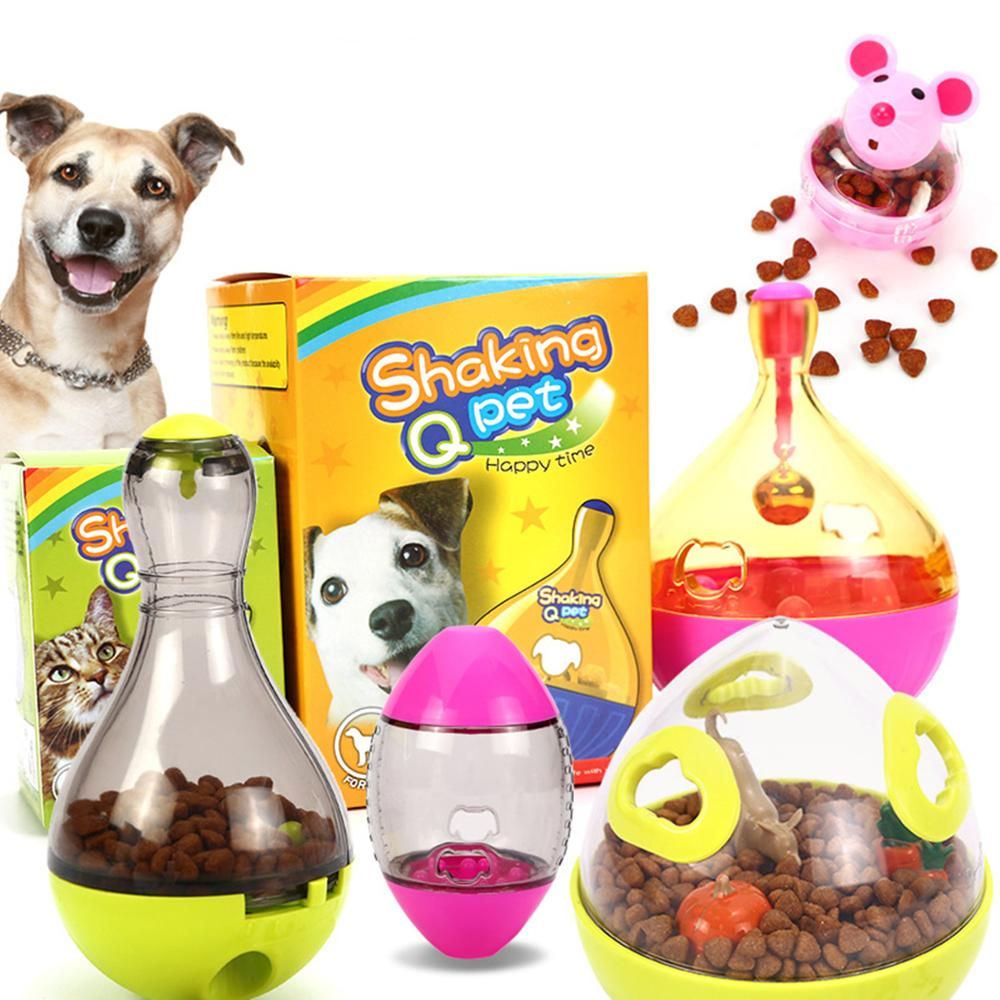 Juguete interactivo con forma de Bol para comida de gatos y perros, juguete divertido para mascotas, recipiente para alimentos con fugas, juguete para mascotas de alimentación lenta