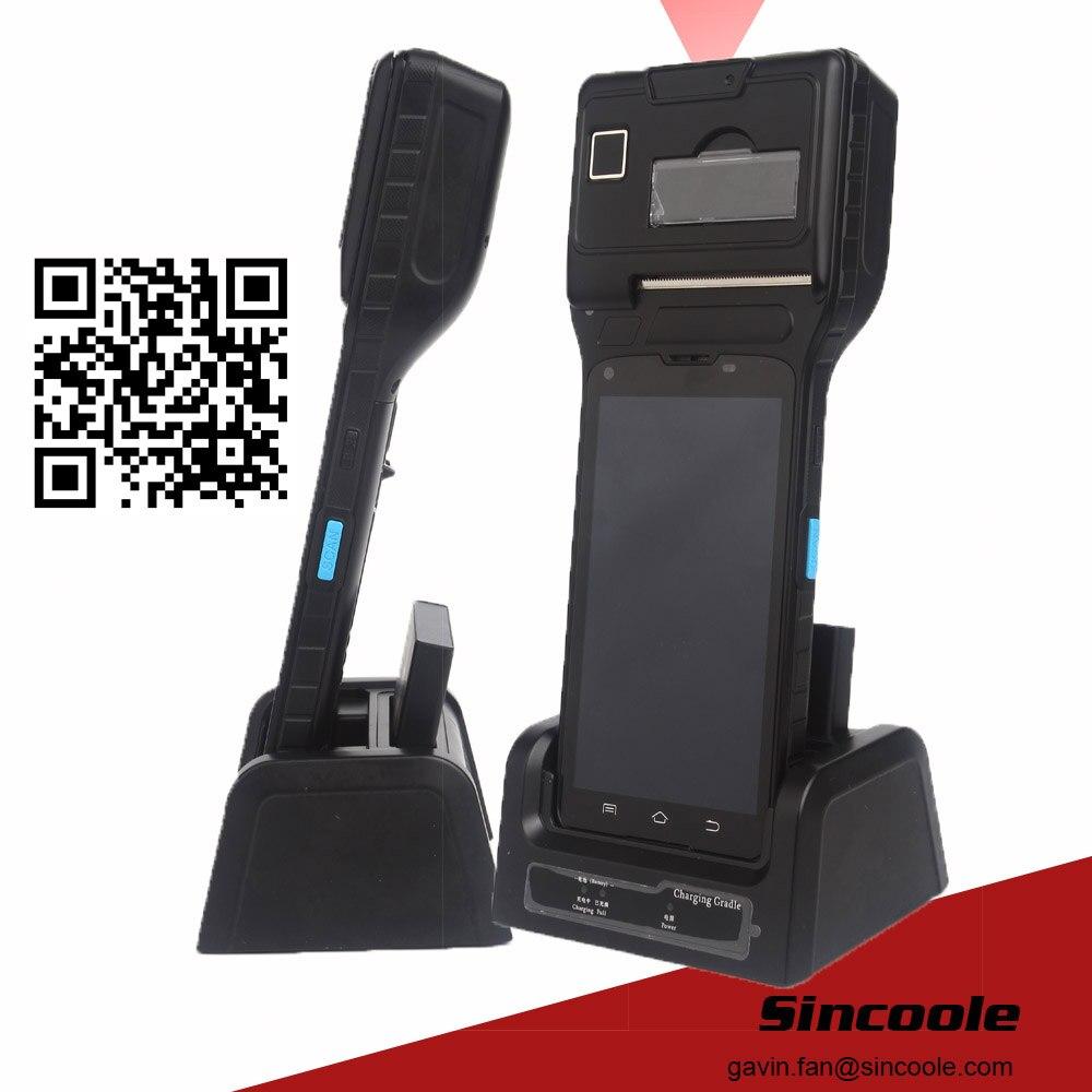 Terminal de mano de huella digital e impresión térmica de código de barras 2D android 5,1 de 5 pulgadas compatible con NFC RFID WIFI BT4.0 SD max 32GB