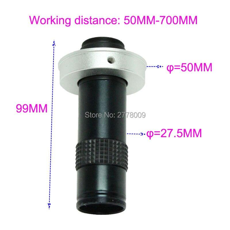 Industrie Mikroskop 5X-100X C-mount Objektiv Große Sichtfeld Hohe Arbeits Abstand Monokulare Video Lupe
