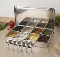 Thick Stainless Steel Japanese deep Seasoning Storage Jar boxes set Spice rack sample Bottles food display boxes
