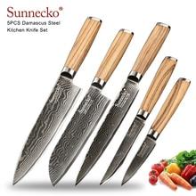 Sunnecko ensemble de couteaux en acier   Damas Chef de cuisine, japonais VG10 lame à noyau de lame en acier, manche en bois Original professionnel 5 pièces