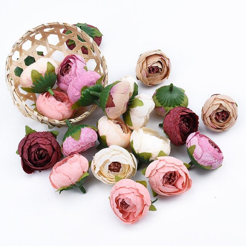 3 шт. маленькие чайные бутоны, головка розы 4 см, искусственные цветы, настенный Декор для дома, сделай сам, брошь для невесты, скрапбукинга, по...