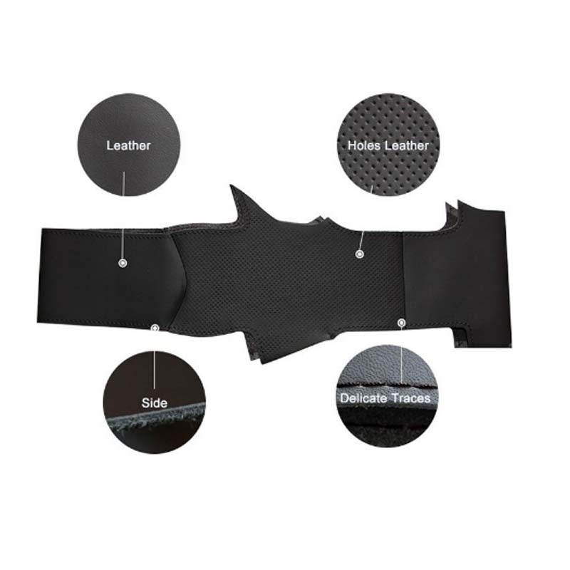 Top Cowhide Sew-on All Black PU Leather Steering Wheel Cover For Lexus RX 270 2011