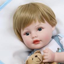 """22 """"55 cm Bebe Junge Wiedergeborenen Neugeborenen Babys Silikon Puppen für Kinder Geburtstag Weihnachten Geschenk Bonecas Brinquedo Menino"""