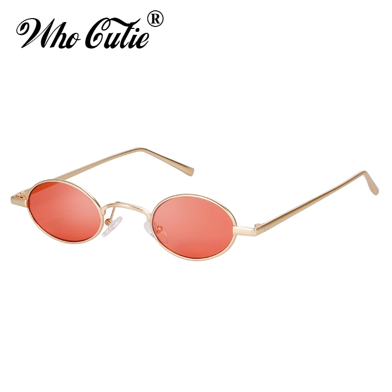 WHO CUTIE Vintage Small Round Pink Sunglasses Men Women 2019 Brand Designer 90S Retro Thin Slim Tiny Sun Glasses Shades OM640