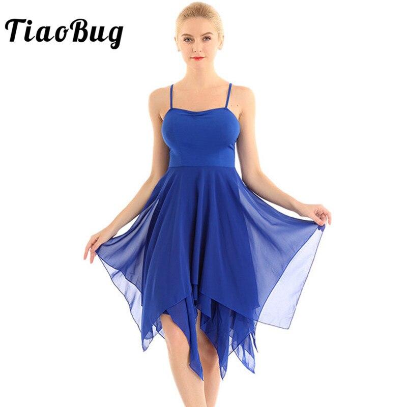 TiaoBug mujeres Spaghetti Strap vestido de baile asimétrico de gasa adulto moderno salón de baile Ballet Contemporáneo traje de baile lírico