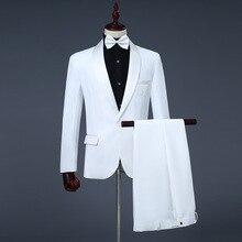 Printemps costumes hommes 2019 à manches longues robe décontracté scène blanc noir costume vêtements formels deux pièces ensemble manteau pantalon