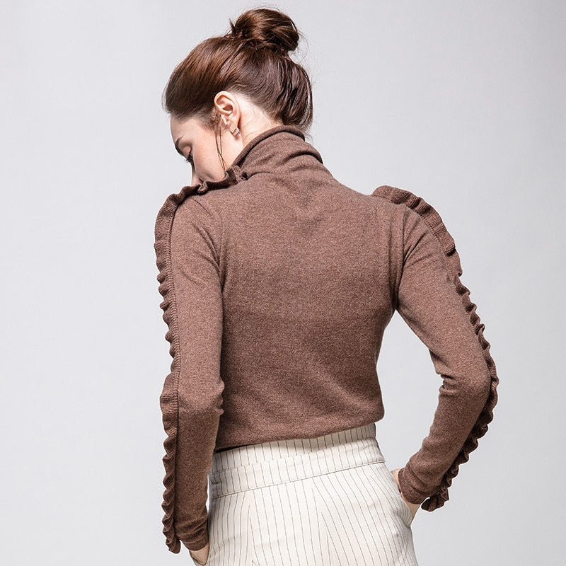 SuyaDream Women Wool Pullover 100%Cashmere Turtleneck Sweater For Women Ruffles Long Sleeve 2020 Fall Winter Sweaters enlarge