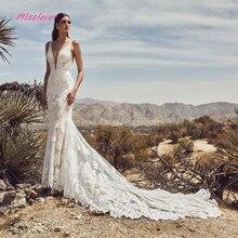 Soyeux Organza Robe De Noiva luxe dentelle sirène mariée Robe de mariée 2019 nouvelle Robe De mariée Sexy col en v dos nu Robe de mariée