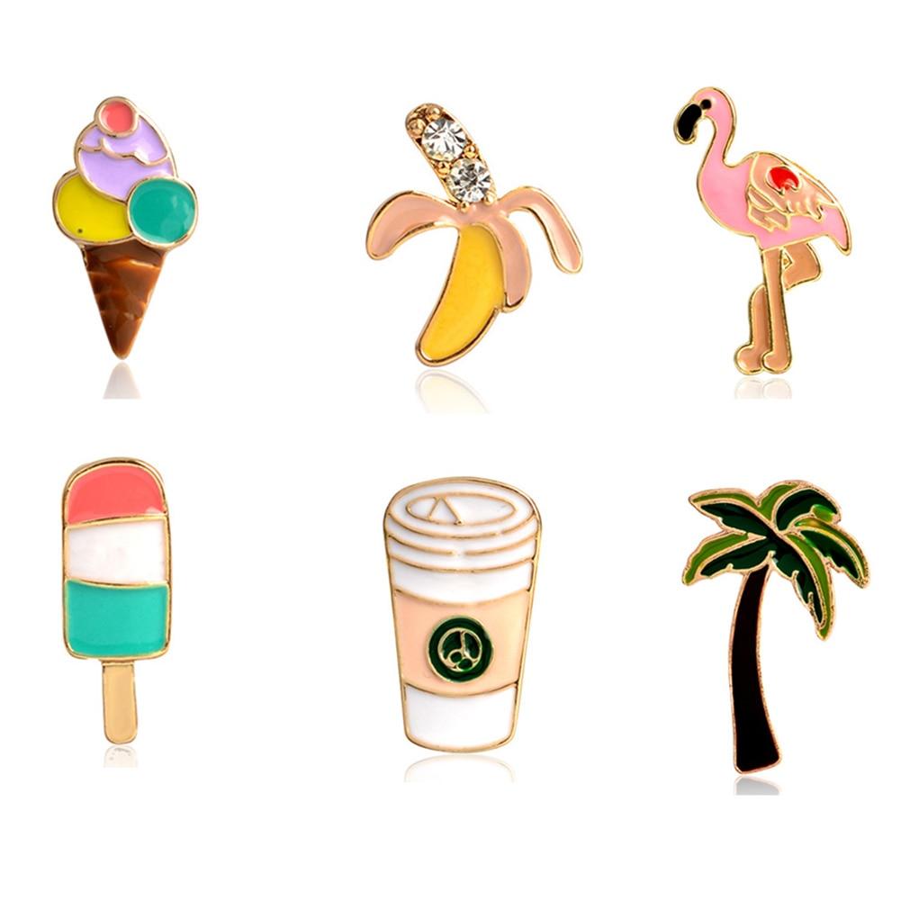 1 шт. пальмовое дерево мороженое фруктовое мороженое банан кофейные чашки булавки Кнопка животное металлическая брошь сумка Куртка Воротни...