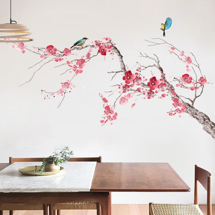 70*115CM Chinese Style Elegant Peach Blossom Home Decor Wall Sticker DIY Flower Bird Living Room Decoration Vintage Poster