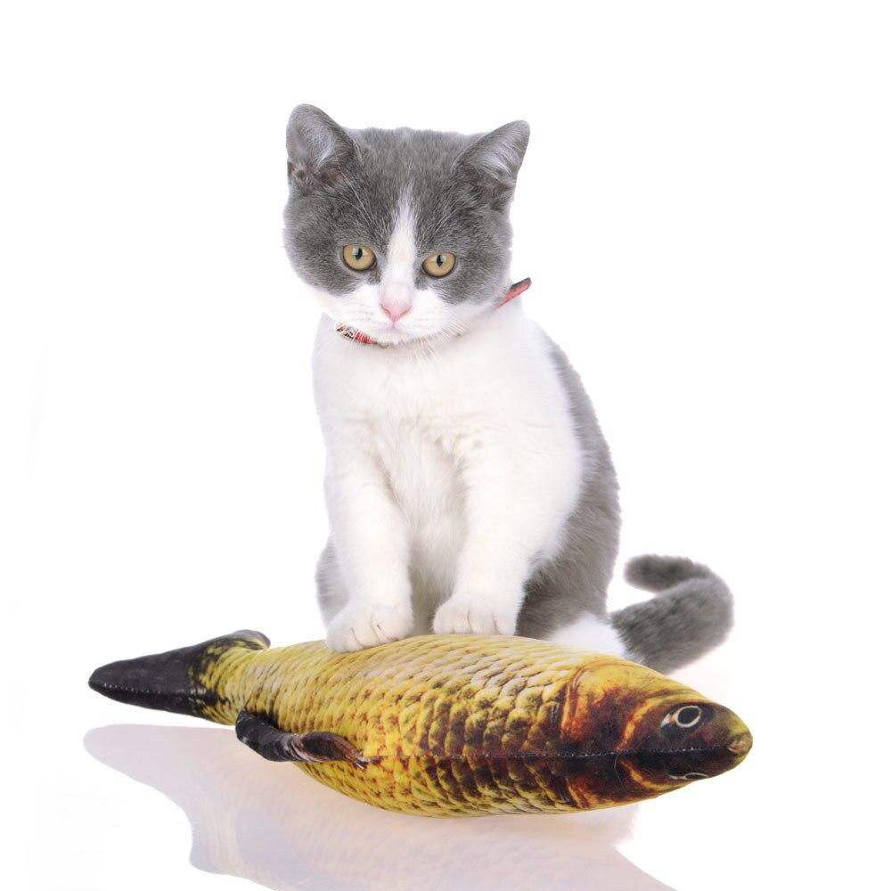Juguete de gato pez peluche perro de peluche juguete en forma de pez gato juguete arañando mascota encantadora menta para gatos resistencia a los arañazos