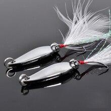 TSURINOYA Spoon Lure 2pcs 3.5g 28mm Fishing Spoon Bait Feather Belt Single Hook Horses Mouth Paillette Feeder Fishing Lure Pesca