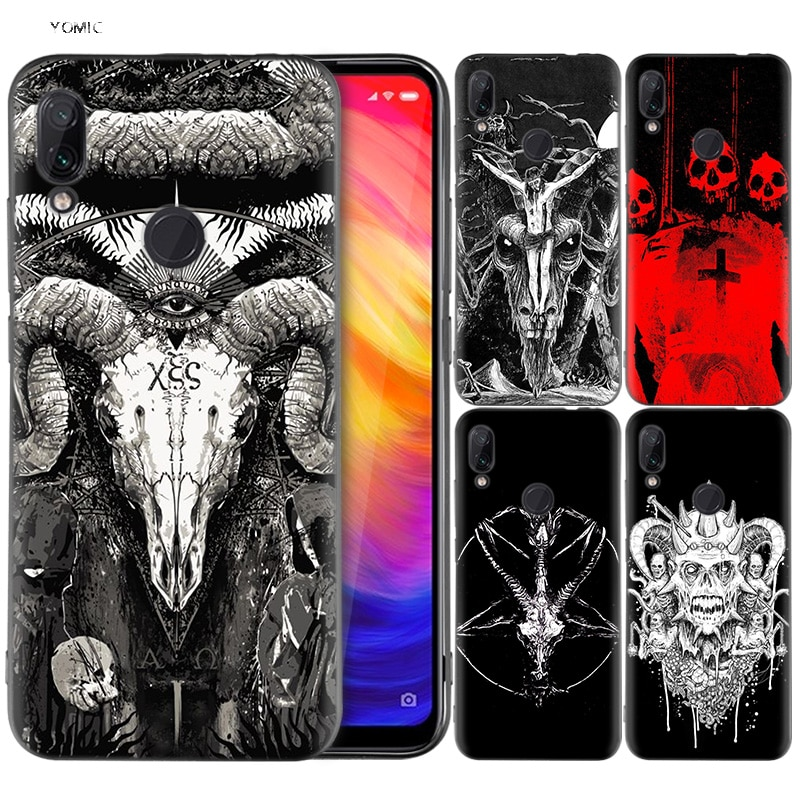 Funda de silicona para Xiaomi Red mi Note 7 6 5 Pro mi A1 A2 8 Lite 9 GO Poco F1 S2 4 4X Plus cráneo satánico