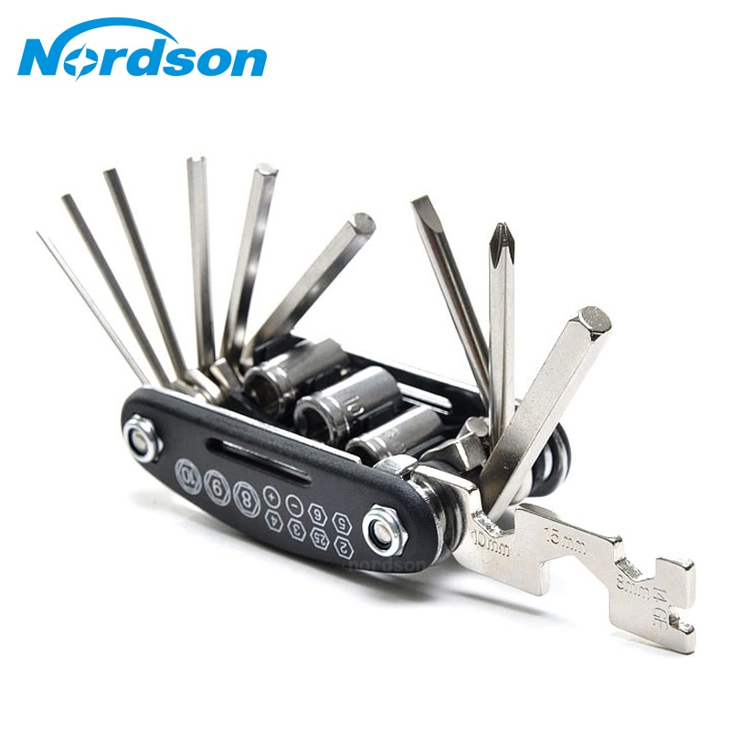 16 In 1 Multi-Function Motorcycle Bike Repair Tools Travel Kit Allen Key Multi Hex Wrench Screwdriver Kits Moto Tools