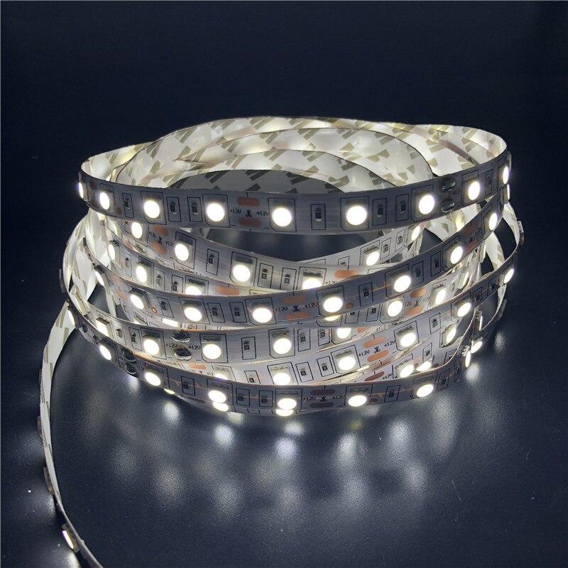 Tira de luces LED RGB de 5 M, 12 V, 2835, 5050, 300 LED SMD, cinta de cinta para decoración del hogar, lámpara para encimera de techo, luz impermeable para gabinete