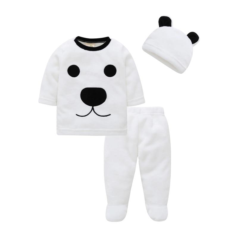 Ropa para bebé (niño o niña) 2020 invierno de terciopelo grueso oso lindo de manga larga doble ropa de franela + Pantalones + sombrero traje de 3 piezas