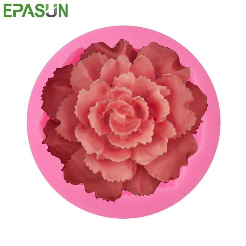 3D Rosa flor jabón molde de silicona forma de pastel de Chocolate molde de Fondant pastillaje caramelo pastel decoración herramienta de decoración de la boda