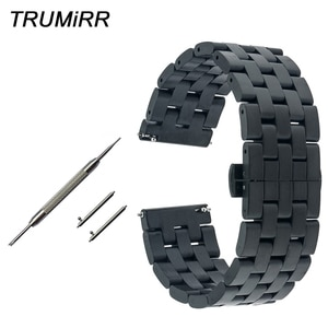 20mm 22mm Quick Release Watch Band + Tool for Omega Men Wome Stainless Steel Strap Butterfly Buckle Belt Bracelet Black Silver