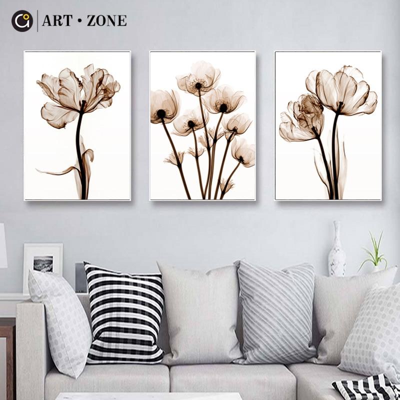 ART ZONE lienzo de flor de loto pintura tinta china tinta pintura impresiones artísticas para colgar en pared sala de estar decoración del hogar flor planta Póster