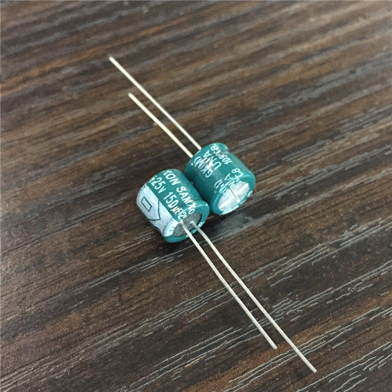 10 Uds 150uF 25V SAMXON serie GK 8x7mm de baja impedancia alta ondulación actual condensador electrolítico de aluminio
